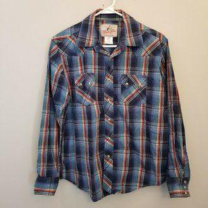 Wrangler M Blue Plaid Western Shirt Rodeo Rockabil